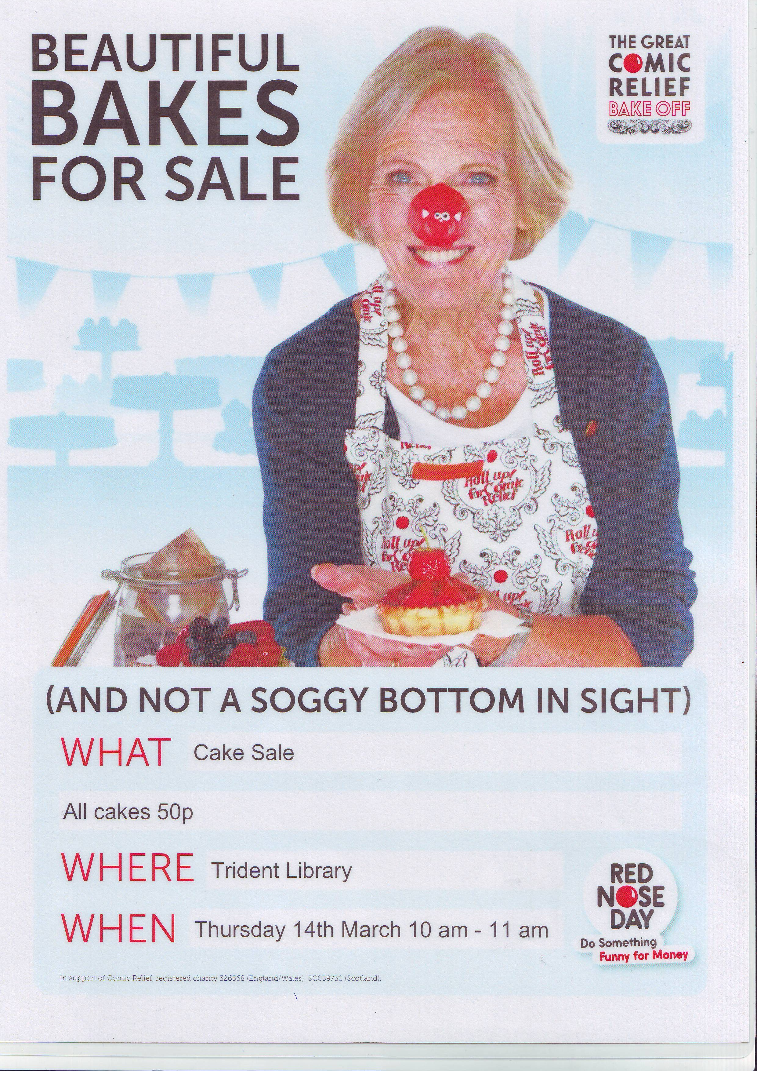 comic relief cake at trident library on thursday th poster