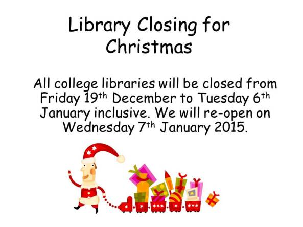 Library Closing for Christmas